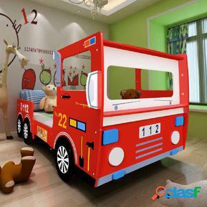 Cama para niños camión de bomberos 200x90 cm rojo