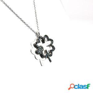 Gargantilla doble flor de plata rodiada y circonitas negras