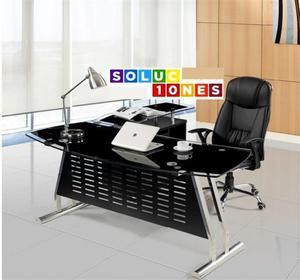 Mesa EVIAN, oval, mueble a derecha, cristal, 160x80 cms
