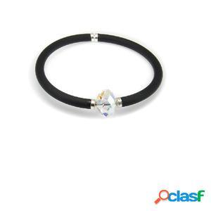Pulsera elástica de caucho negro y detalle de cristal