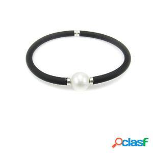 Pulsera elástica de caucho negro y perla para mujer