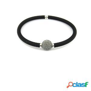 Pulsera elástica en caucho negro con bola de plata