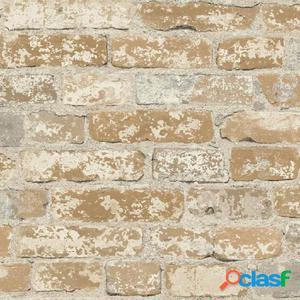 RoomMates Papel de pared adhesivo ladrillo estucado marrón