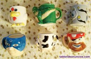 6 tazas con relieves infantiles, sin estrenar