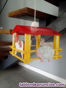 Lampara infantil de madera con diseño de granja de animales