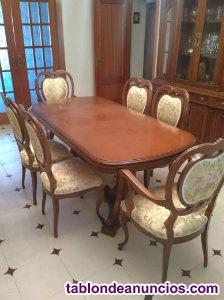 Mesa en madera de pino con 6 sillones