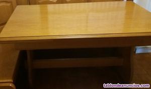 Mesa y banco rinconero de roble