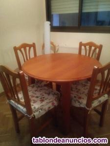 Vendo mesa con sillas de pino.