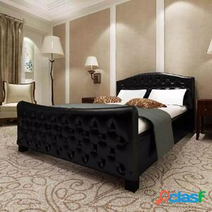 Cama matrimonio con colchón cuero artificial 140x200 cm
