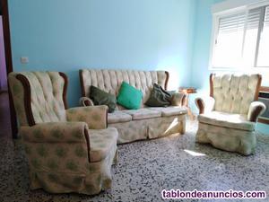 """Conjunto sofá y dos sillones """"vintage"""""""