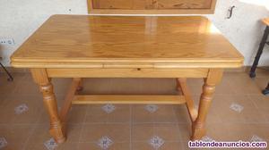 Mesa comedor l extensible, madera maciza