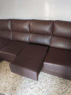 Sofá chaise longue de polipiel color chocolate