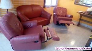 Vendo tresillo polipiel con sillones reclinables