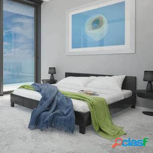 vidaX Cama de cuero artificial negra con colchón 140x200 cm