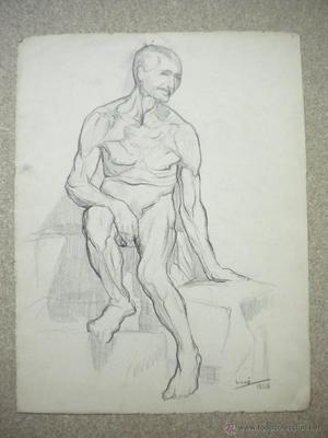 dibujo firmado Salvador Vivó , medida 24x31 cm.Escultor