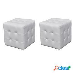 2 x Taburete De Forma De Cubo Blanco