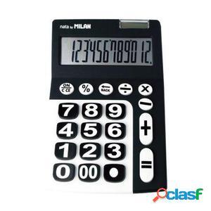 Calculadora milan negra 12 digitos - alimentacion dual