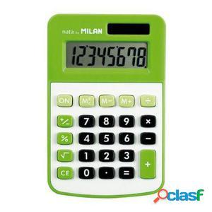 Calculadora milan verde 8 digitos - alimentacion dual