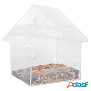 Esschert Design Comedero de ventana acríclico 15x10x15,3 cm