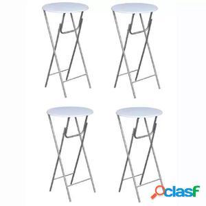 Mesas altas plegables de MDF blancas 4 unidades
