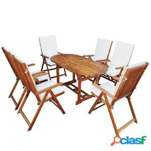 Set de comedor de jardín de madera de acacia con cojín 13