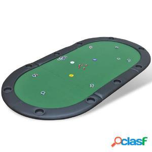 Tablero de póker plegable para 10 jugadores verde