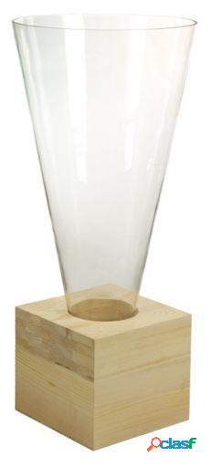 Wellindal Jarrón de cristal con madera