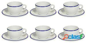 Wellindal Juego de 6 Taza té con plato filo azul marino