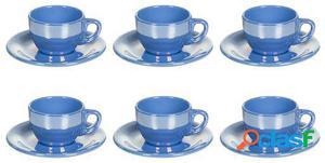 Wellindal Juego de 6 Taza té con plato lustre azul