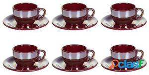 Wellindal Juego de 6 Taza té con plato lustre burdeos