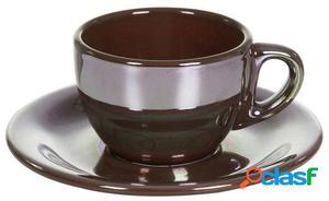 Wellindal Juego de 6 Taza té con plato lustre marrón