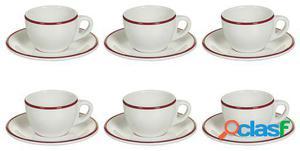 Wellindal Juego de 6 Tazas té con plato filo burdeos