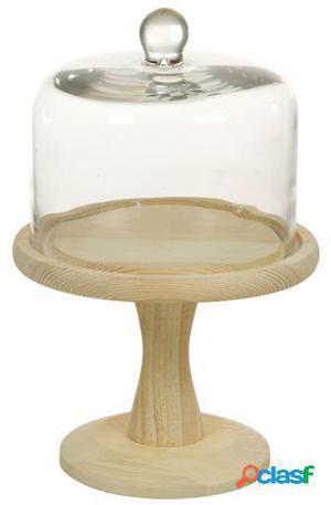 Wellindal Plato Tarta de cristal con madera