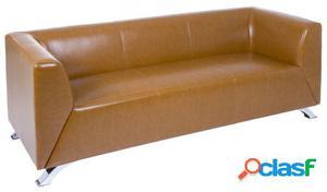 Wellindal Sofá tres Plazas elegante marrón