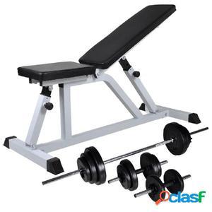 Banco de musculación con pesas y mancuernas 30,5 kg
