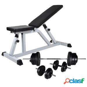 Banco de musculación con pesas y mancuernas 60,5 kg