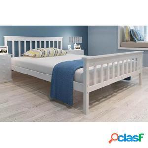 Cama con colchón de madera de pino maciza 140x200 cm blanca
