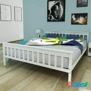 Cama con colchón de madera de pino maciza 160x200 cm blanca
