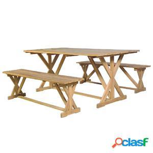 Conjunto de comedor 3 piezas de madera de teca maciza
