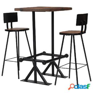 Conjunto de muebles de bar 3 piezas madera maciza reciclada