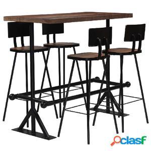 Conjunto de muebles de bar 5 piezas madera maciza reciclada
