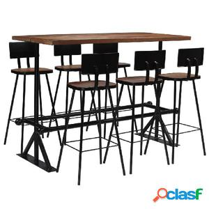 Conjunto de muebles de bar 7 piezas madera maciza reciclada