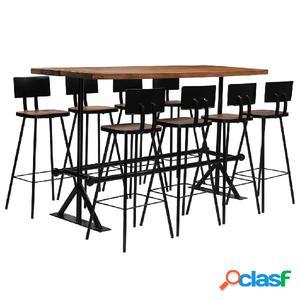 Conjunto de muebles de bar 9 piezas madera maciza reciclada