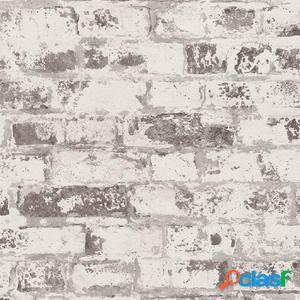 DUTCH WALLCOVERINGS Papel de pared ladrillo blanco y gris