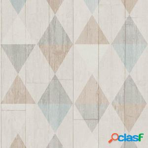 DUTCH WALLCOVERINGS Papel de pared madera/rombos beige