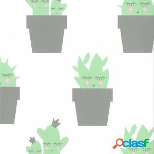 Fabulous World Papel de pared Cactus blanco y verde 67102-2