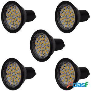 Focos LED, set de 5 bombillas, color negro GU10 3W blanco