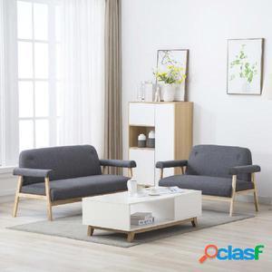 Juego de sofás para 5 personas 2 piezas tela gris oscura