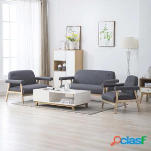Juego de sofás para 6 personas 3 piezas tela gris oscura