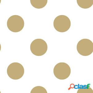 Kids at Home Papel de pared Dotty Gold blanco y dorado